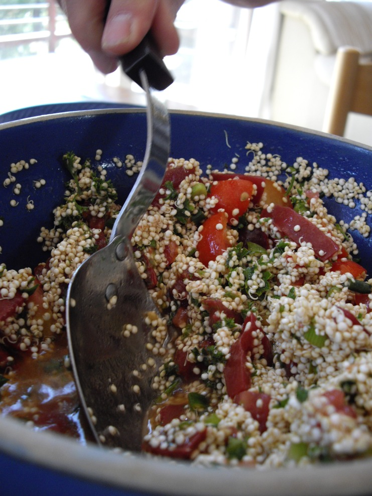Sprouted quinoa tabouleh
