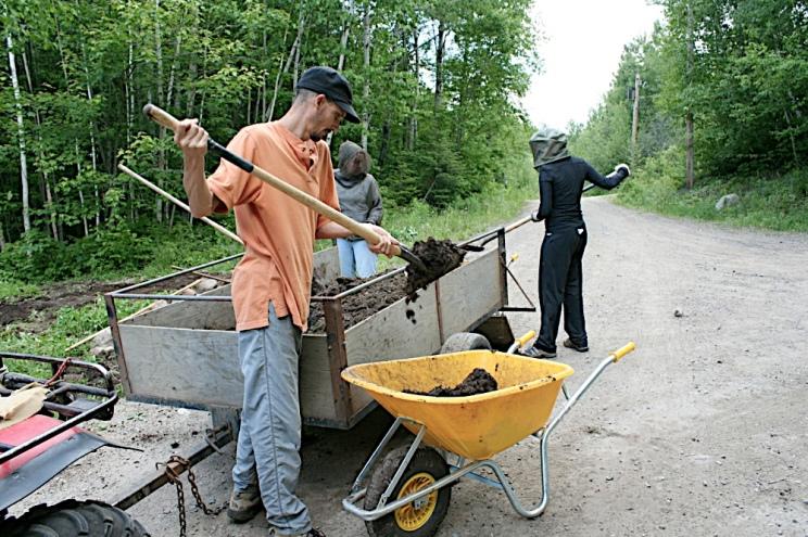 Andrew Jones, Jam Jam Jessica and I shoveling manure, all day.