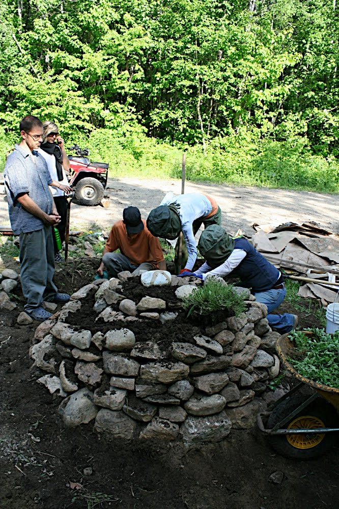 Putting herbs in the spiral
