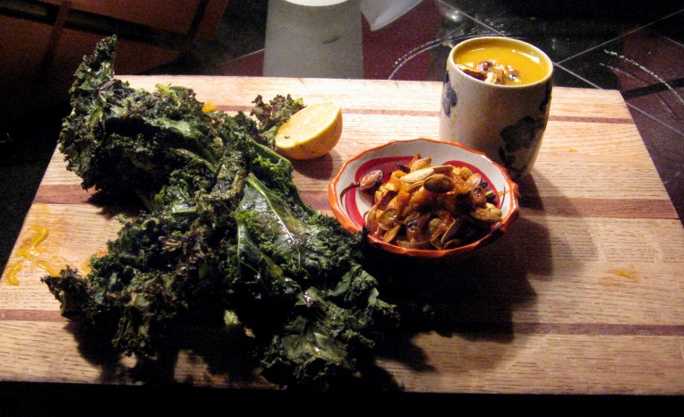 Baked kale, toasted pumpkin and butternut squash seeds, and butternut squash soup