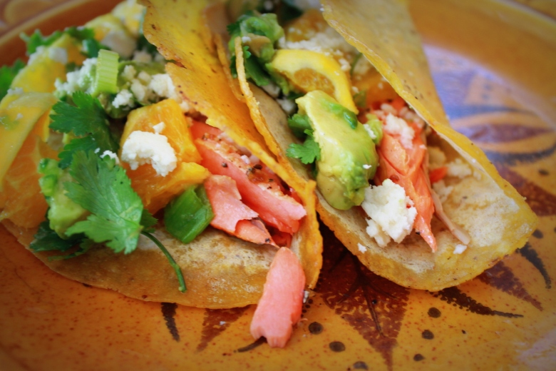 Salmon Tacos with Fruit Salsa and Queso Fresco | Simple. Fresh. Local